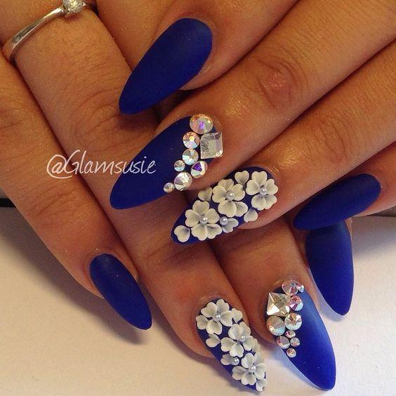 Beautiful Floral Diamond Wedding Nail Design Royal Blue Inspired