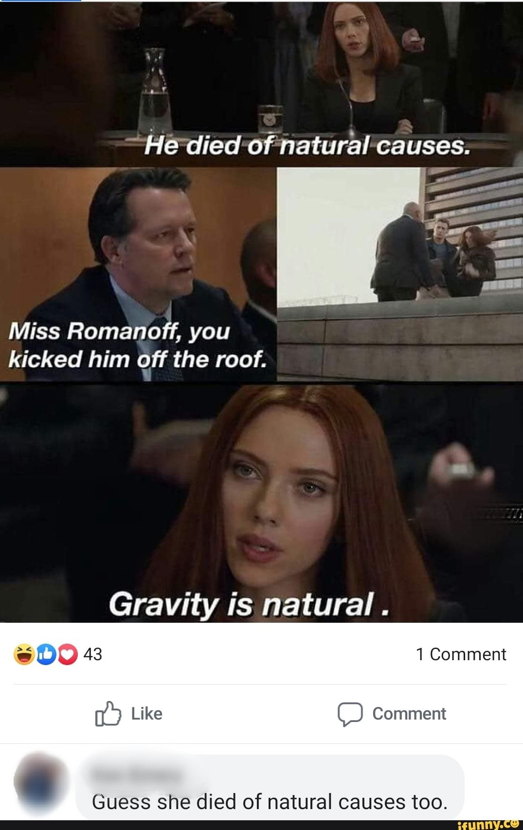 Miss Romanoff You Kicked Him Qff The Roof Gravity Is Natural Guess She Died Of Natural Causes Too Ifunny Marvel Jokes Romanoff Stupid Funny Memes