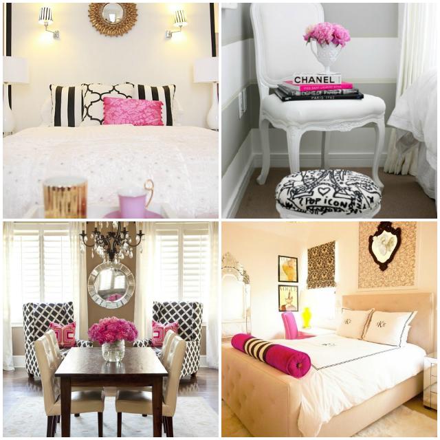 Pink Gold Black And White Bedroom Inspiration Bedroom Design