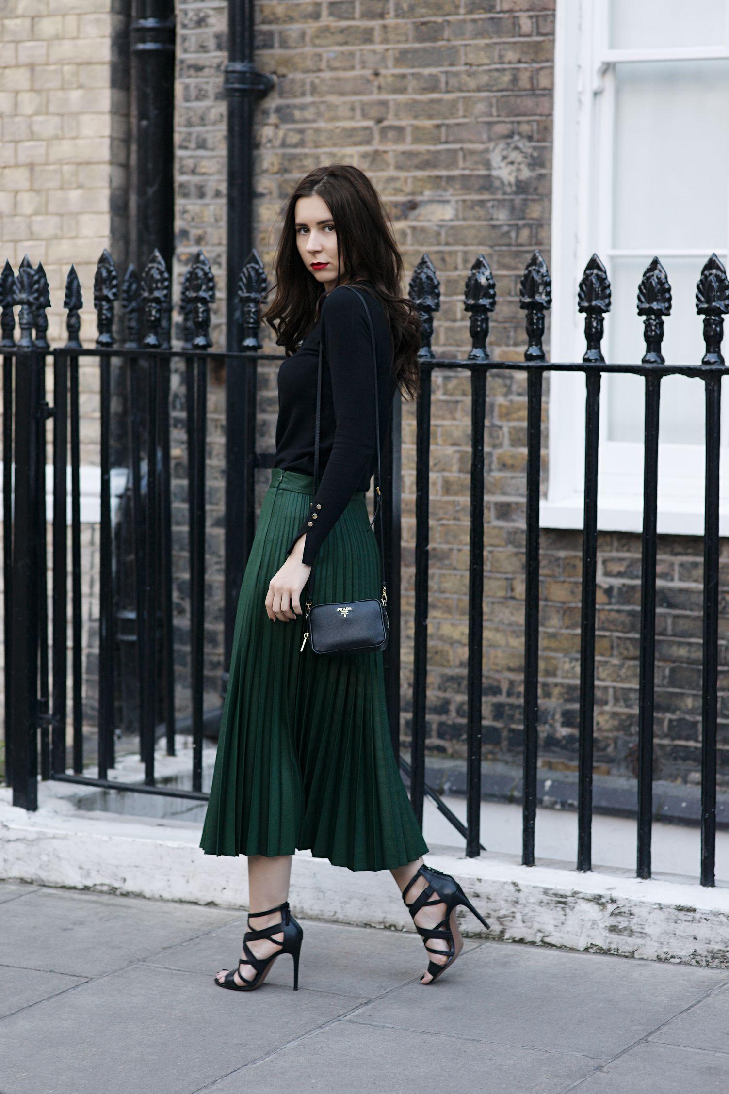 c160c179fd the 3 7 14 fashion rule zara green pleated skirt black sandals black jumper  prada bag outfit london fashion blogger diana cloudlet london fashion week