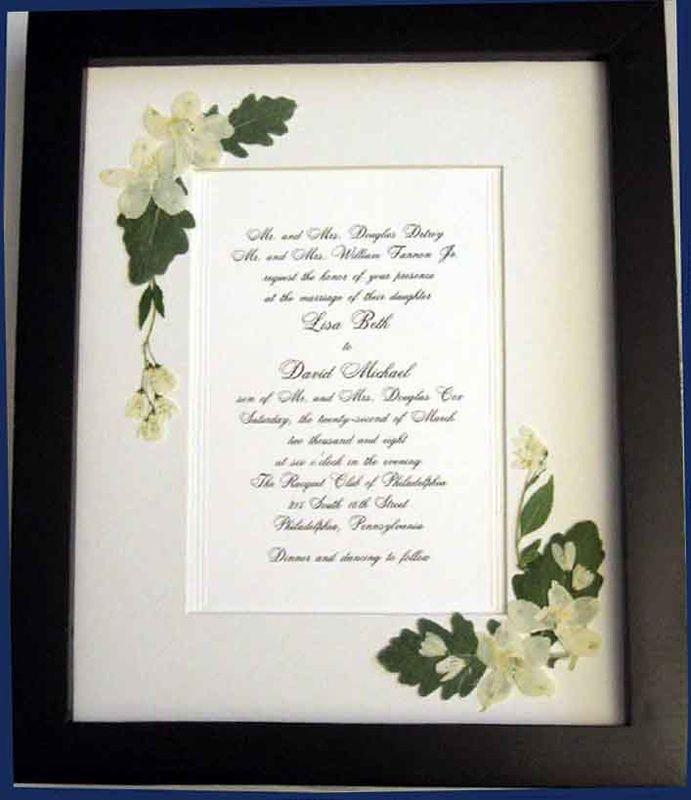 Samples of pressed flower embellished wedding invitation keepsake ...