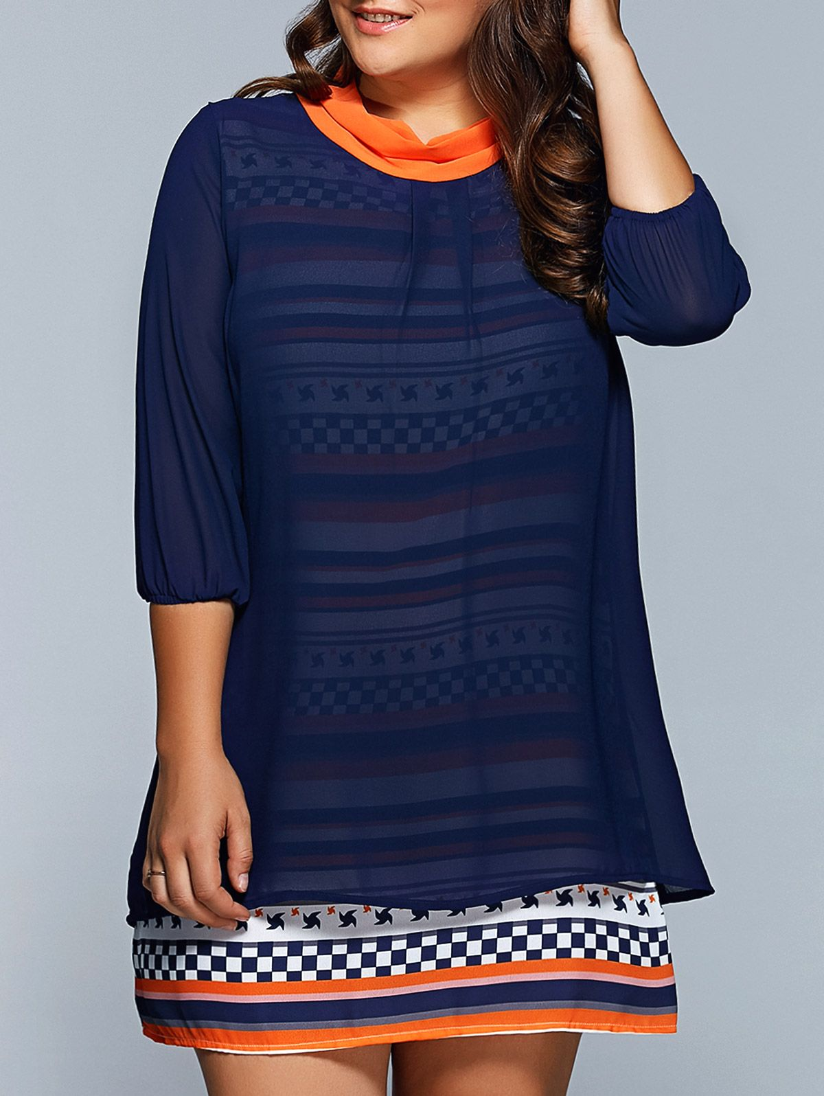 Nextmia plus size geometric print chiffon spliced dress plus