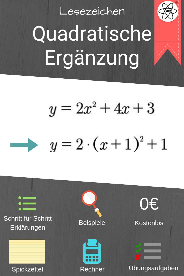 Lesezeichen Zur Quadratischen Erganzung Mit Beispielen Arbeitsblattern Spickzetteln Und Mehr Auf Studimup De Einfach Mathe Mathe Formeln Spickzettel Lernen