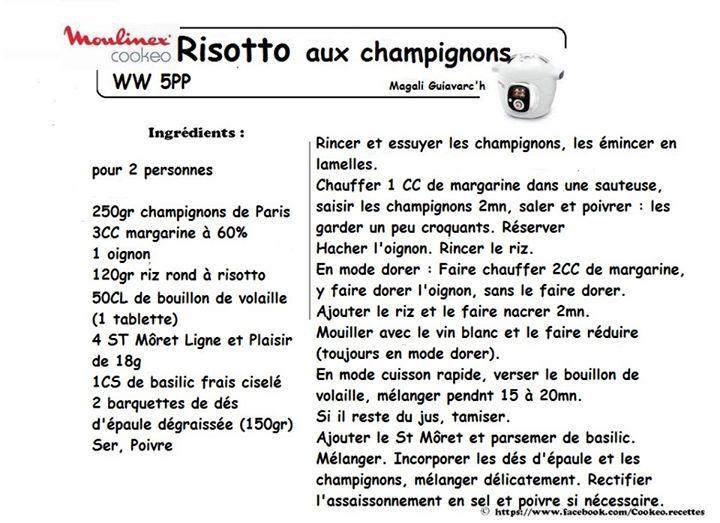 Risotto Aux Champignons Ww 5pp Cookeo