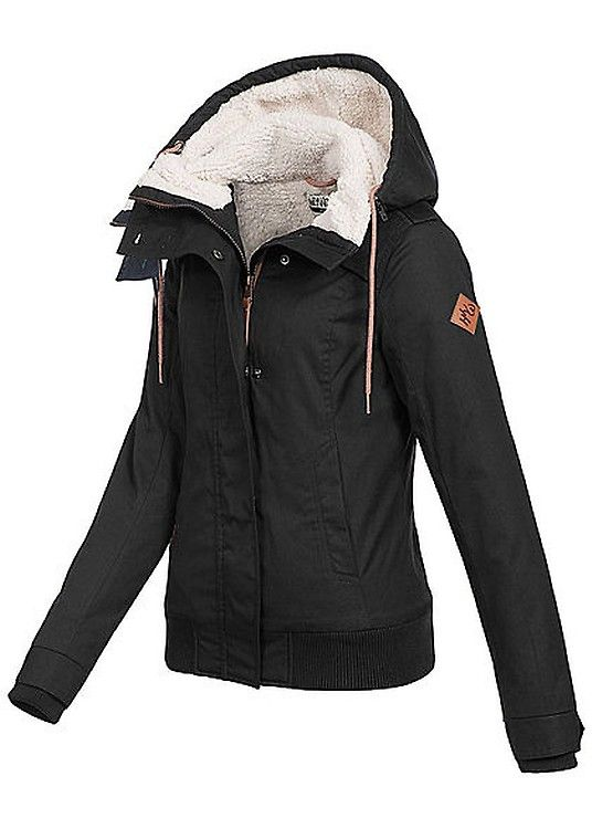 Seventyseven Lifestyle Damen Winter Jacke Abnehmb Kapuze Teddyfutter Schwarz Art Nr 17105007 Winterjacke Damen Jacken Strassenmode