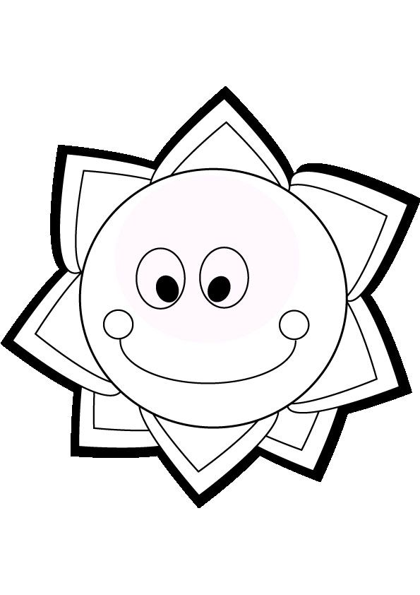 Smiling sun coloring page | 1s Suns Moons Stars Silhouettes ...
