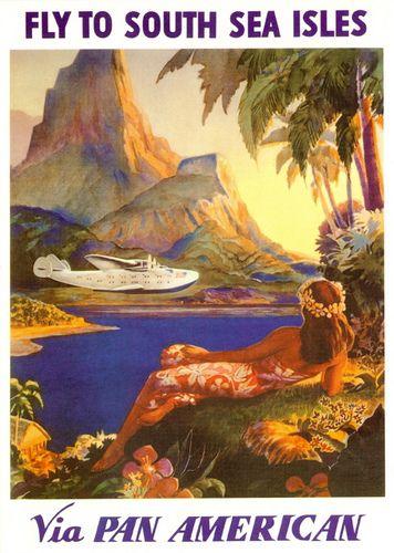 Pan Am Set South Sea Isles Vintage Travel Posters Vintage Posters Hawaiian Art