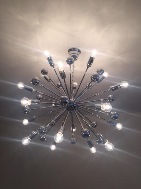 Komet spherule chrome effect 20 lamp pendant ceiling light ceiling lights lounge lighting and chrome