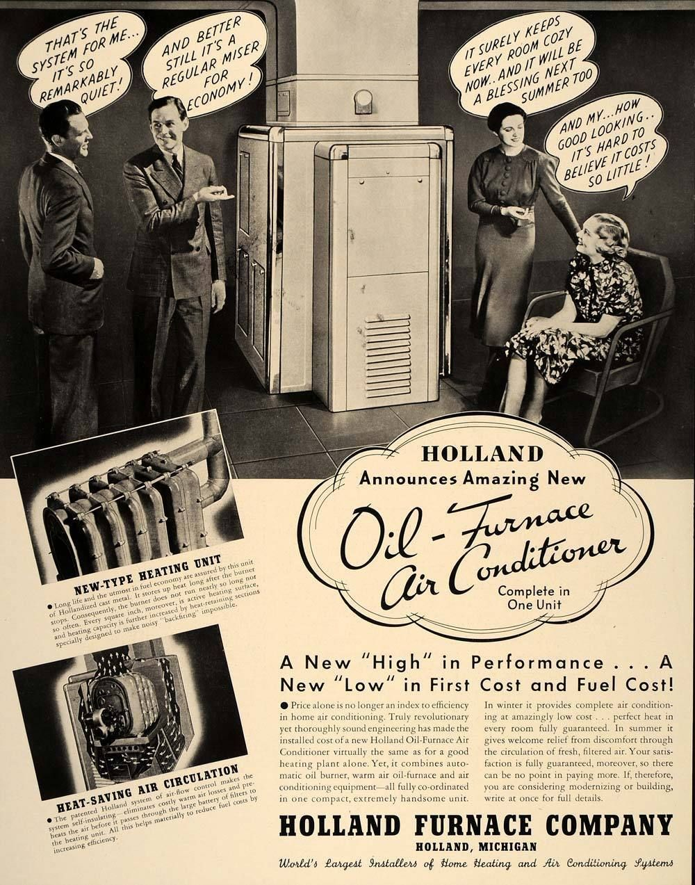 1937 Ad Holland Oil Furnace Air Conditioner Michigan