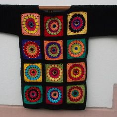 "Pull ""mandala andy warhol"" crochet noir"