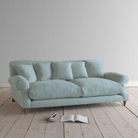 Large Crumpet In Cloud Blue Vintage Linen Sofas Loaf It Looks So Comfy