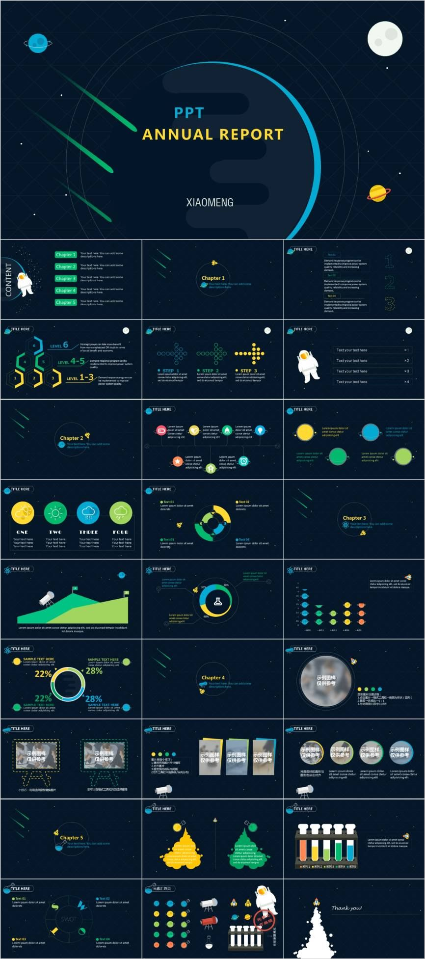 Multicolor annual report charts PowerPoint template