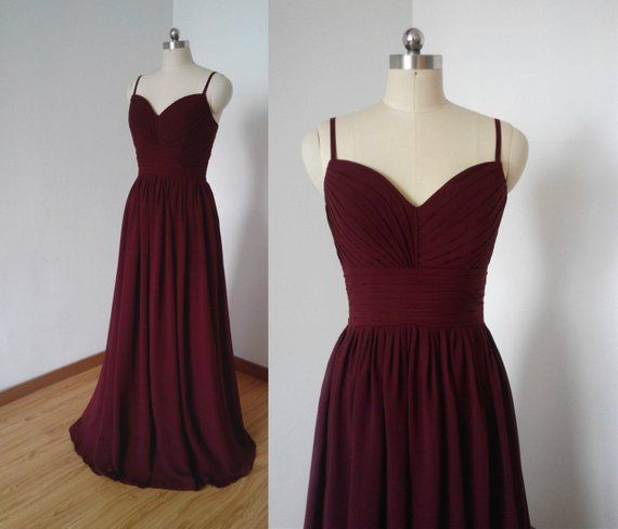 Photo of Spaghettiträger Burgund Chiffon Long Bridesmaid Dress