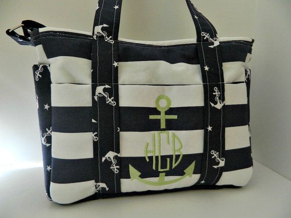 Nautical Diaper Bag In Navy And White With By Beschedbyamanda 85 00
