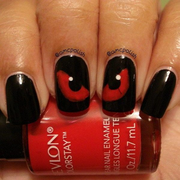 45 stylish red and black nail designs eye gothic nails and 45 stylish red and black nail designs prinsesfo Image collections