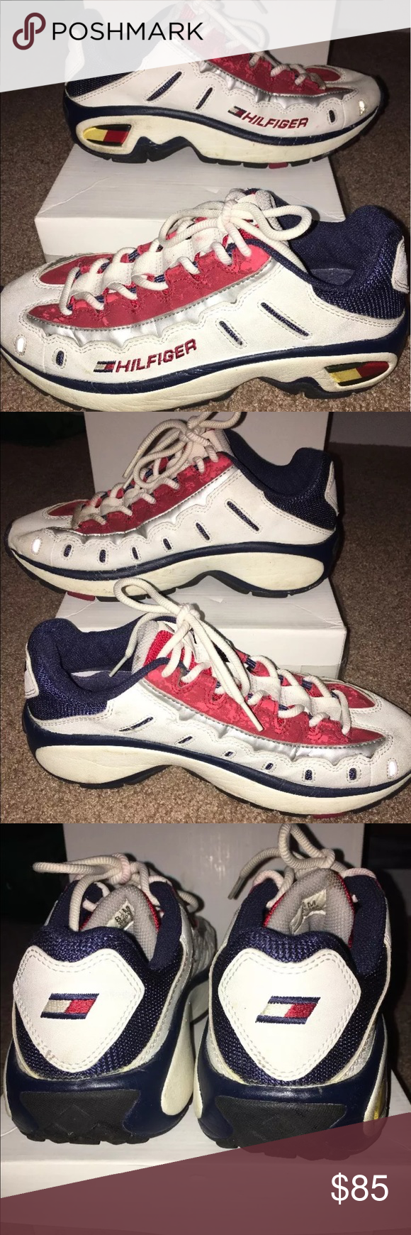91d1cd6ed07439 90 s Tommy Hilfiger sneakers Authentic 90 s men s Tommy Hilfiger sneakers .  Pre owned but great for the era they came from . Laces will be cleaned  before ...