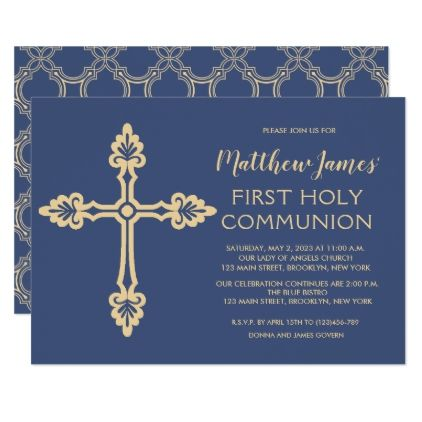 Elegant gold first communion invitation for boys cyo customize elegant gold first communion invitation for boys cyo customize design idea do it yourself like it pinterest communion invitations and communion solutioingenieria Images