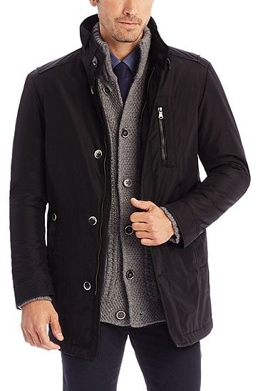 'Conaz'   Water Repellent Jacket with Faux Leather and ...