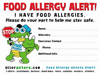 food allergy list template for daycare - Google Search ...