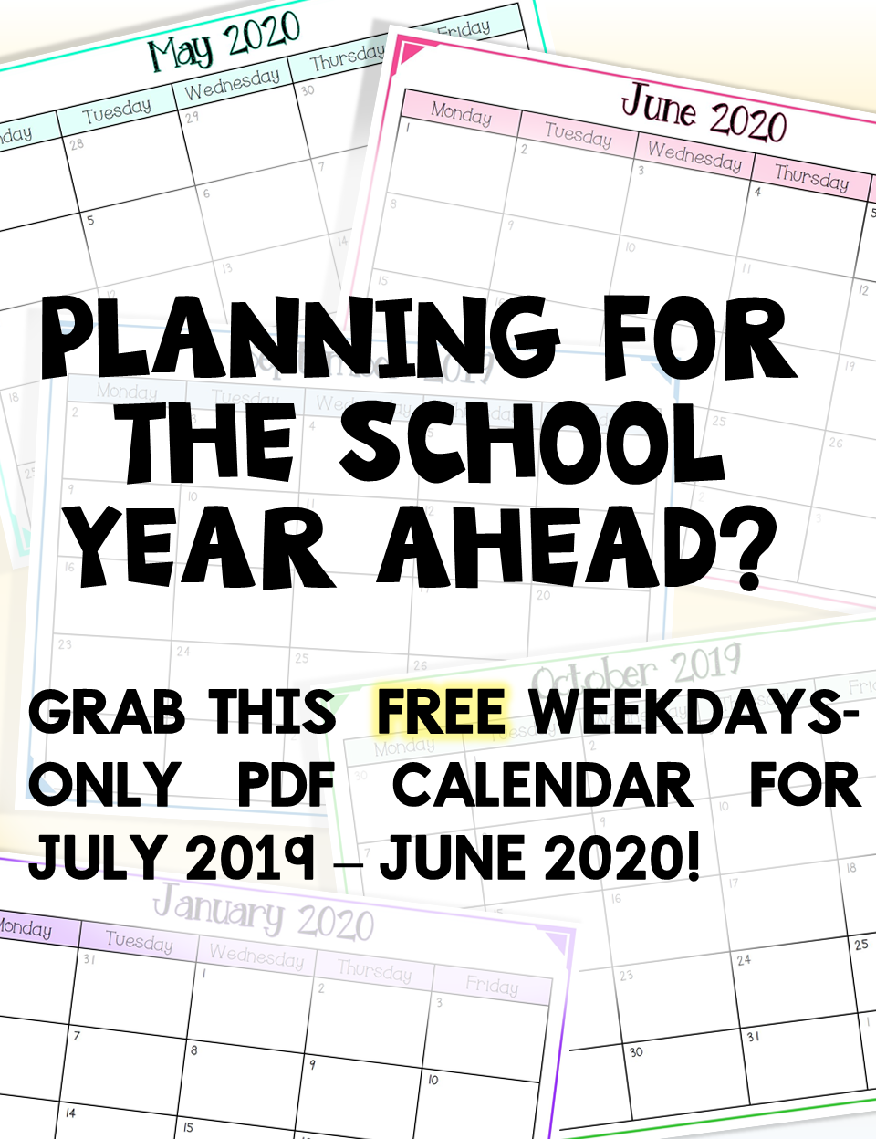 Ideas For Visiting Teaching June 2020 2019 2020 FREE School Year Calendar (Weekdays Only) | Teaching