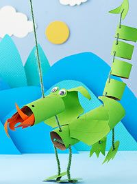 Dragon Marionette: not the easiest craft for kids, but fun!