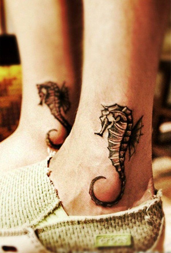 Hippocampus Ankle Tattoo - 60  Ankle Tattoos for Women | Showcase of Art #style #shopping #styles #outfit #pretty #girl #girls #beauty #beautiful #me #cute #stylish #photooftheday #swag #dress #shoes #diy #design #fashion #Tattoo