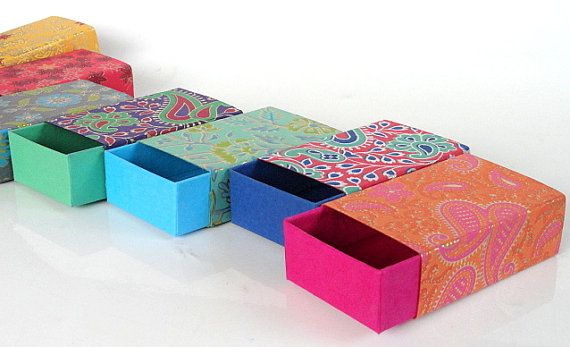 These small match box style slide open Boxes with traditional Indian prints are ideal for gifting & Packaging small objects like jewelery and other