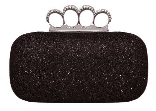 Chicastic Glitter Metallic Duster Four Ring Knuckle Clutch Evening Purse With Rhinestones Black Chicastic Evening Clutch Bag Clutch Bag Wedding Evening Purse
