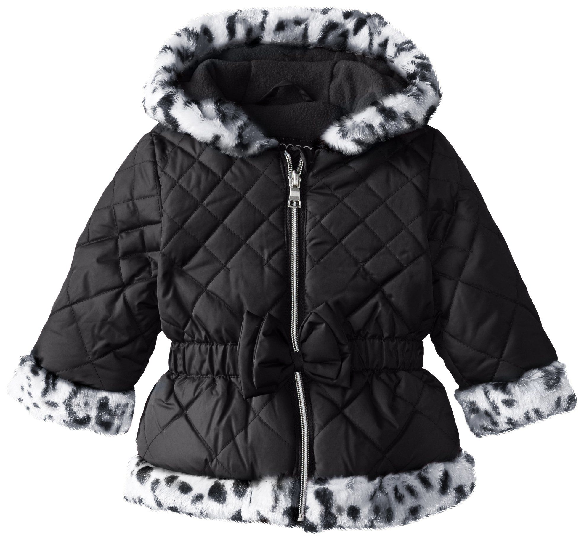 2434f27219d4 Pistachio Baby Girls  Quilted Jacket with Animal Print Faux Fur Trim ...