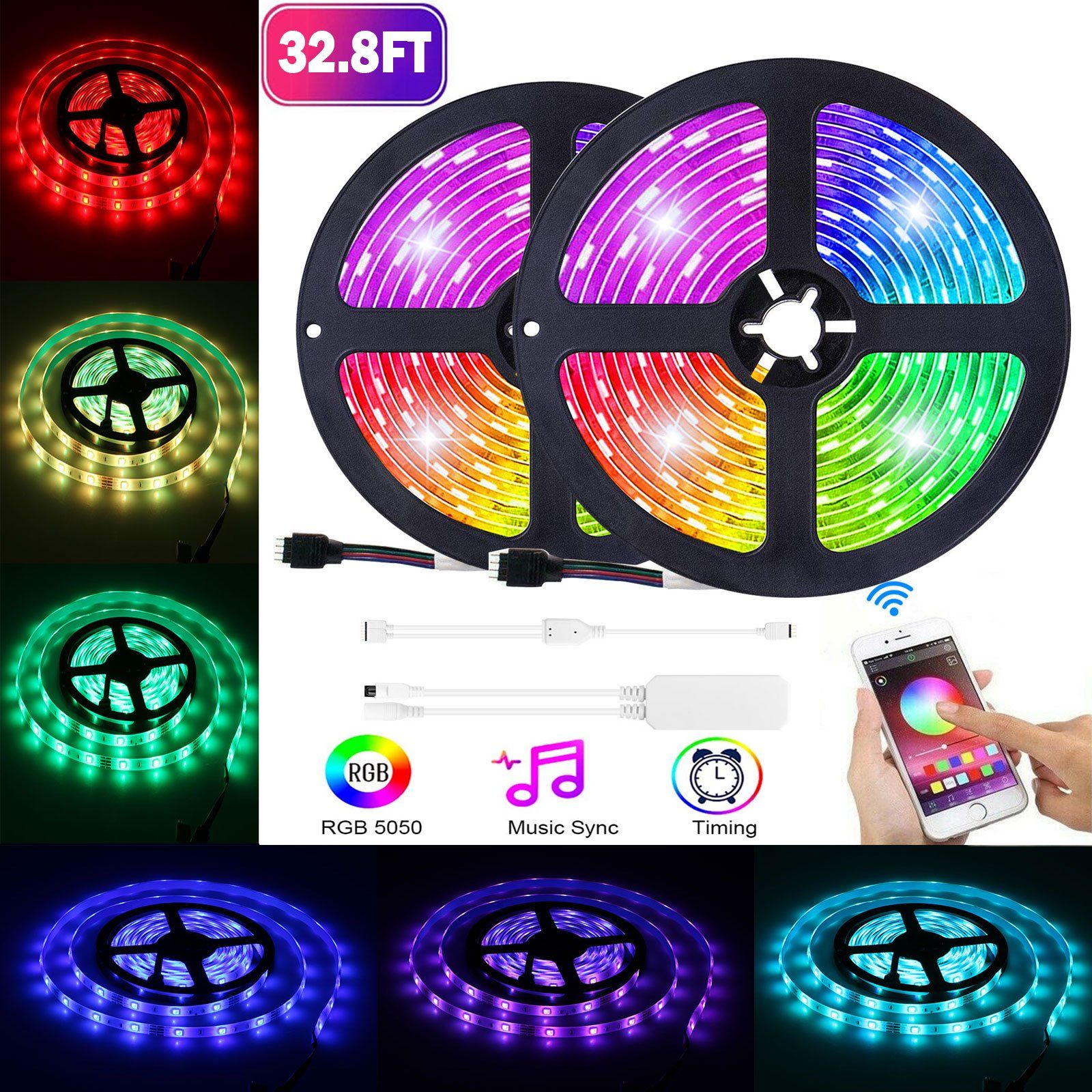 Eeekit Rgb Led Light Strip 16 4ft 5050 Smd Led Waterproof Smart Wifi Strip Light Kit Working With Android And Ios System Walmart Com In 2020 Strip Lighting Rgb Led Lights Led Light Strips