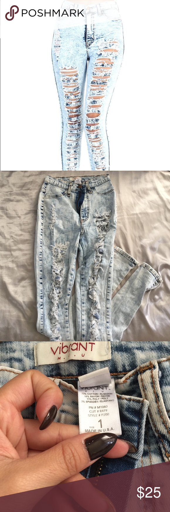 Authentic Vibrant Miu Highwaist Distressed Jeans 1 Worn twice. In perfect condition. Size 1. Very fitting and comfortable. Please make offers!!! vibrant miu Jeans Skinny