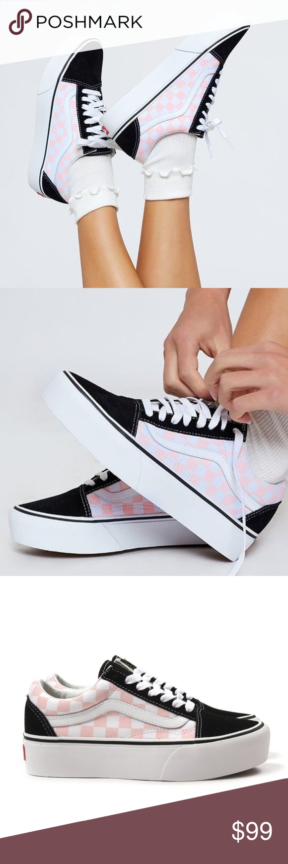 pink and white checkered vans old skool