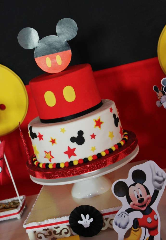 Amazing cake at a Mickey Mouse birthday party! See more party planning ideas at CatchMyParty.com!