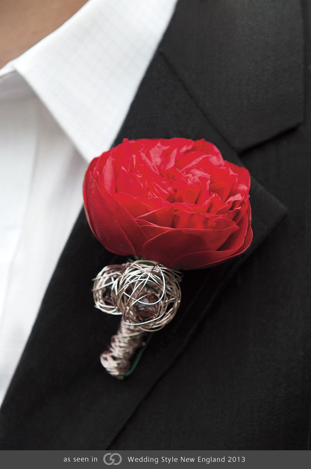 Garden rose with wire armature boutonniere. Very contemporary.