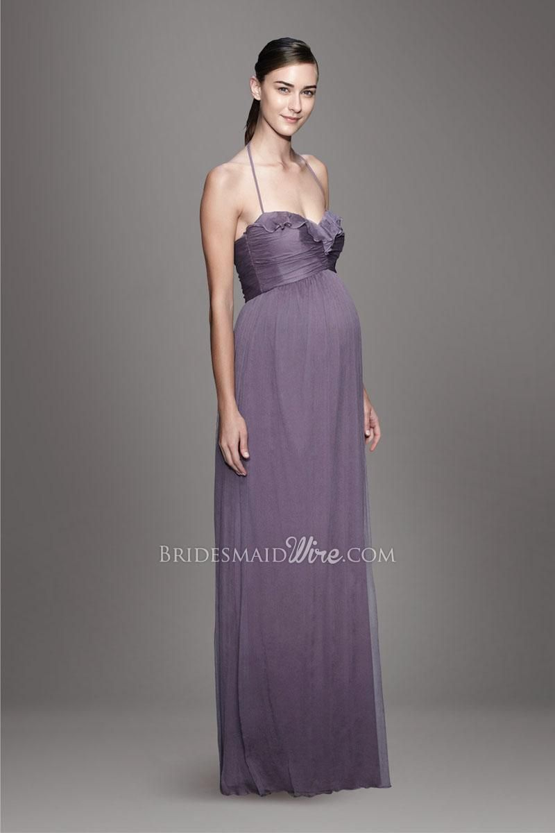 lilac #halter #sweetheart ruffle neckline pleated bodice a line ...