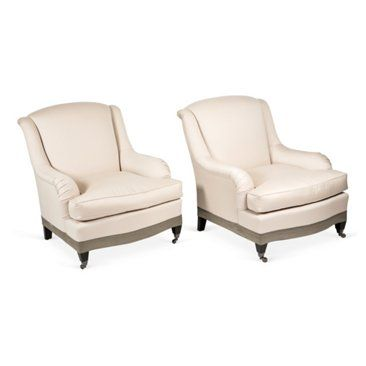 Check out this item at One Kings Lane! Upholstered Club Chairs, Pair
