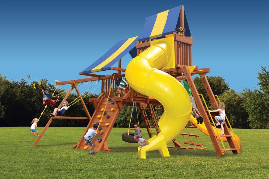 Deluxe playcenter combo 5 park slide playground cedar