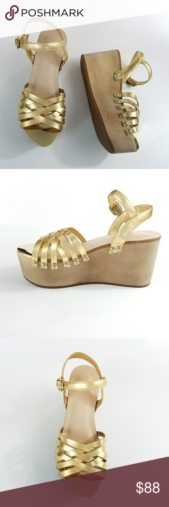 0bcb9b0d590d Rachel Zoe Mae Gold Wedge Sandals 7.5 Rachel Zoe Mae Gold Wedge Platform  Sandals 7.5 Leather