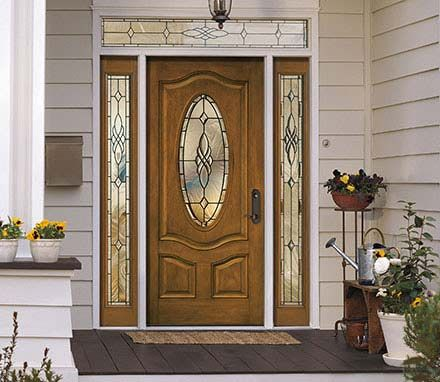 Architect Series Deluxe 3 Panel Oval Entry Door With Glass Pella