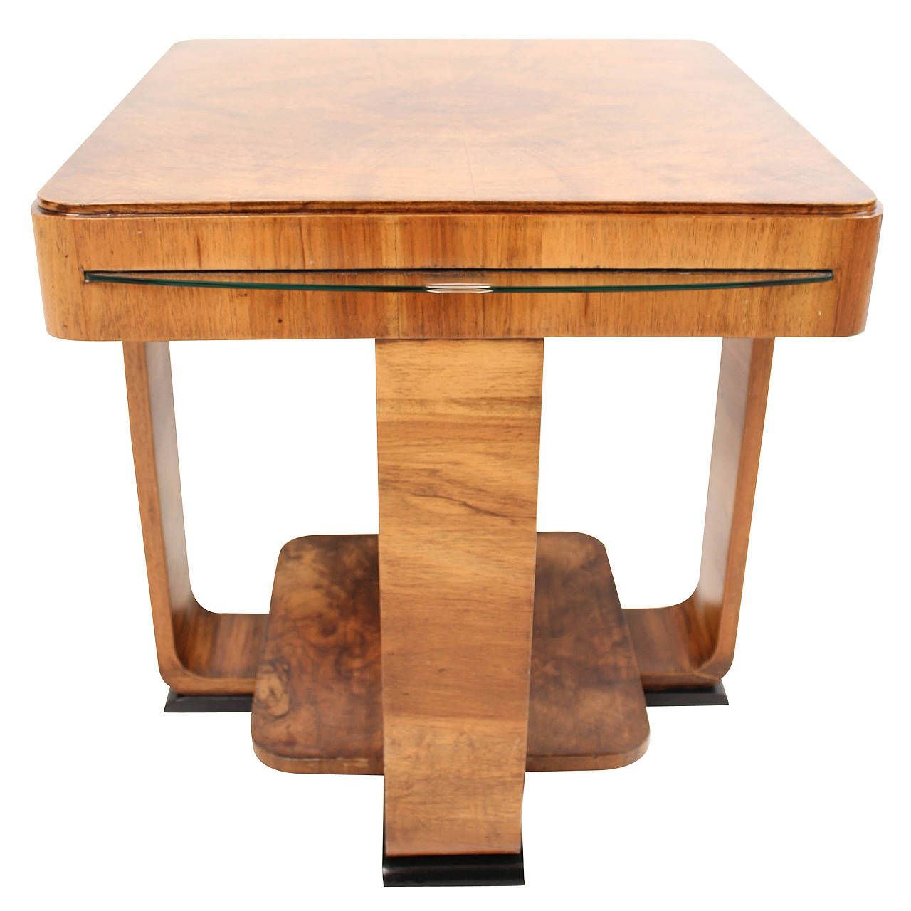 Rare French Art Deco Walnut Coffee Table