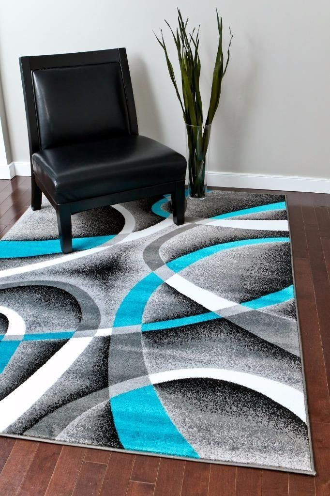 2035 Turquoise Gray Contemporary Area Rugs Home