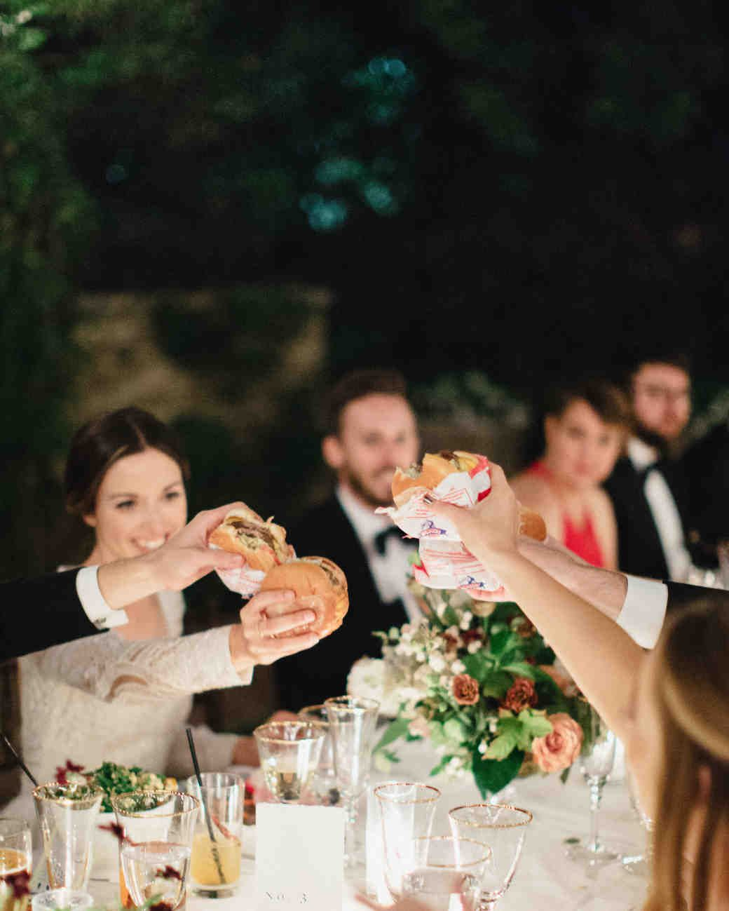 A Backyard Garden Wedding In San Marino Martha Weddings Guests Were Surprised When N Out Burger Was Served As The Main Course