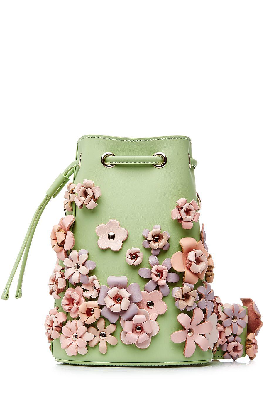 Kasper Flowers Leather Shoulder Bag dce3875551d