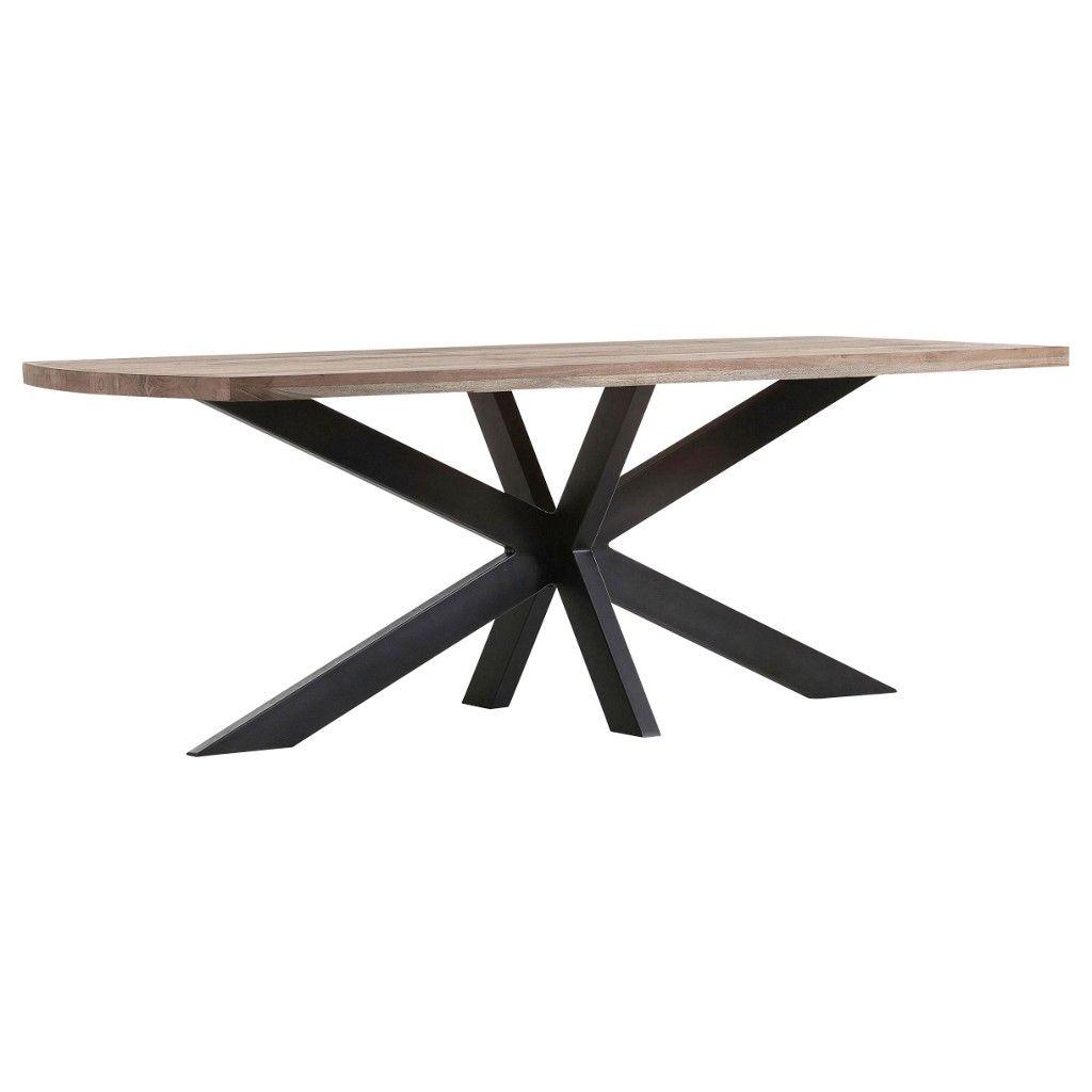 ambia home esstisch akazie eisen massiv rechteckig. Black Bedroom Furniture Sets. Home Design Ideas