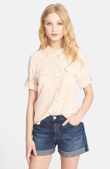 Equipment 'Slim Signature' Short Sleeve Silk Shirt available at #Nordstrom