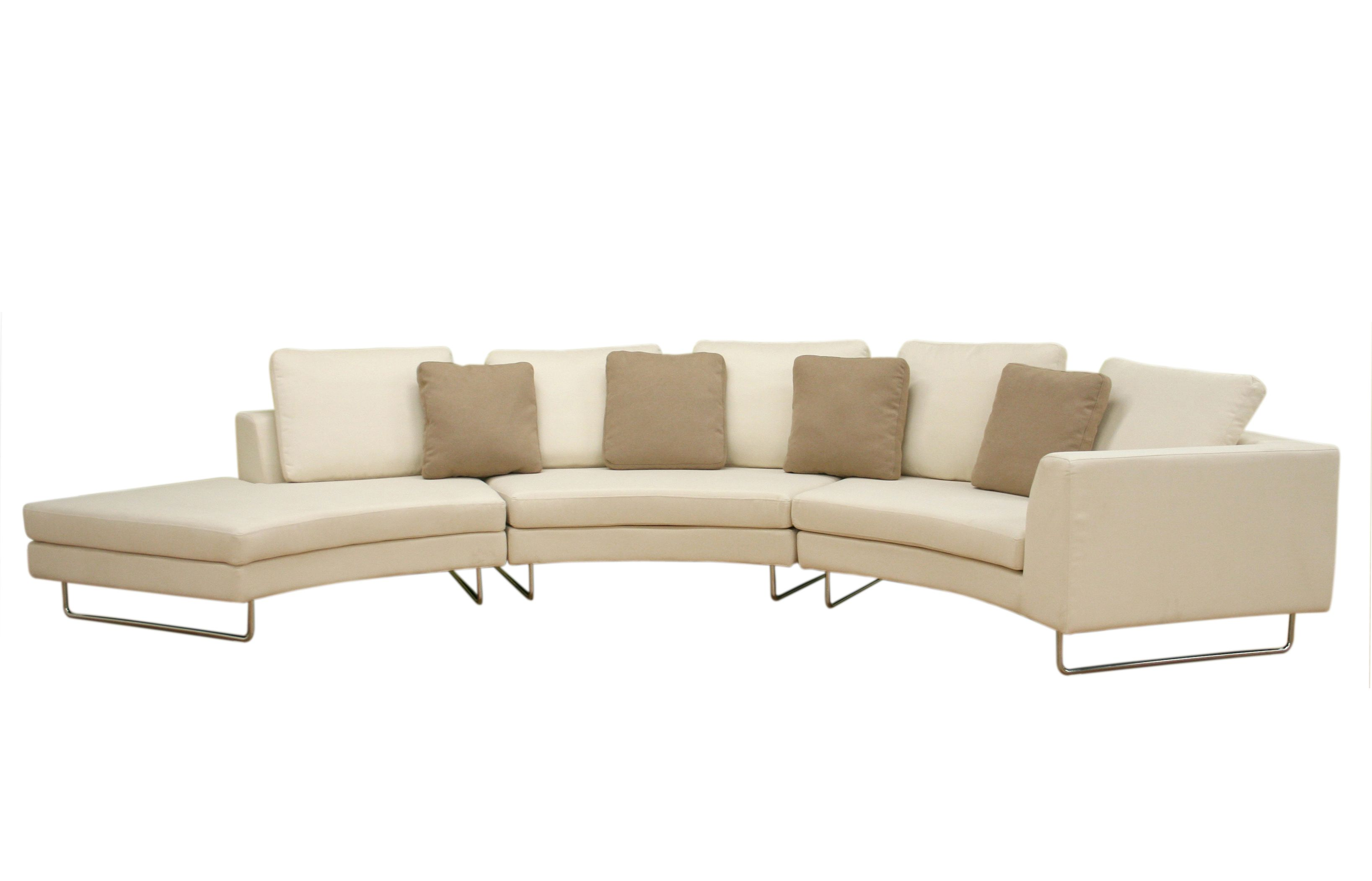 Large round curved sofa sectional baxton studio lilia curved 3 piece tan fabric modern Curved loveseat sofa