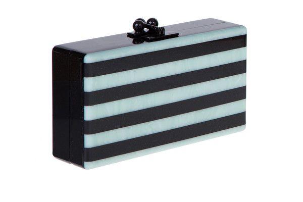 Edie Parker Jean Striped Handbag Clutch Obsidian Sand Mint Pearlescent