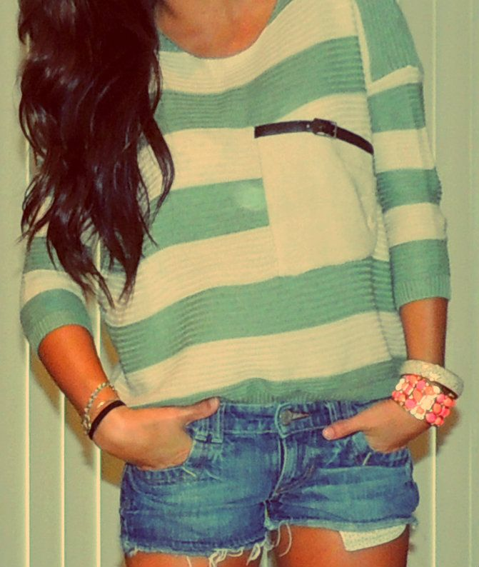 Big sweaters, shorts, and loafers <3