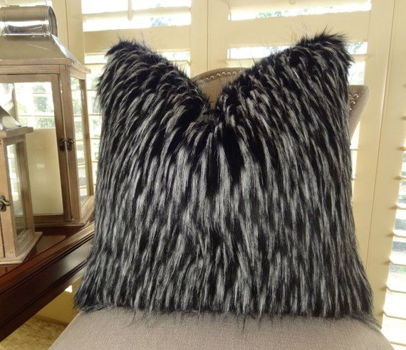 Black White Fur Throw Pillow Wolf Faux Fur Pillow Cover Black