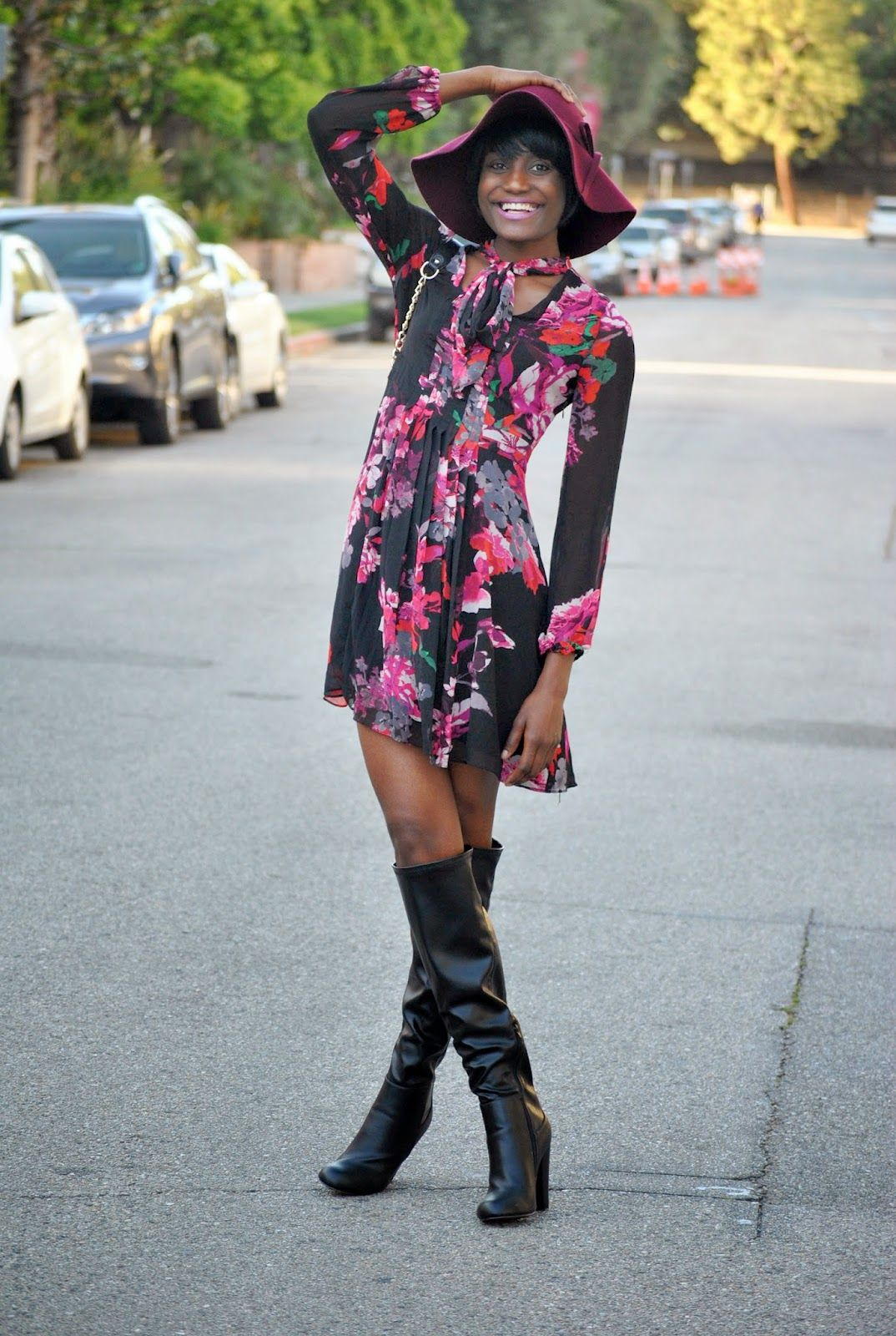 ETHNIK CULTURE: Style Post 134: Floral Dress, Floppy Hat and Boots